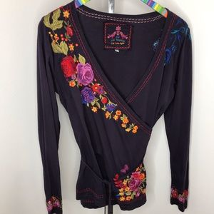 Johnny Was Embroidered Navy Blue Wrap Top